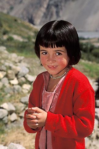 image 4-448-30 Pakistan, Karakoram Highway, Young girl in field, Gulmit, Hunza