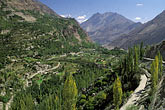fields and mountains stock photography | Pakistan, Karakoram Highway, View of Altit and Upper Hunza Valley, image id 4-453-8