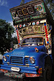 vertical stock photography | Pakistan, Decorated truck on KKH near Aliabad, image id 4-458-14