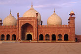 domed stock photography | Pakistan, Lahore, Early morning, Badshahi Mosque, image id 4-468-4