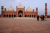 domed stock photography | Pakistan, Lahore, Courtyard, Badshahi Mosque, image id 4-468-8