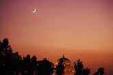 horizontal stock photography | Pakistan, Multan, Moon over Mausoleum of Shah Rukn-e-Alam at dusk, image id 4-484-17