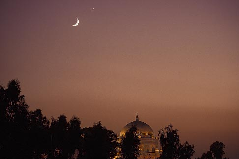 image 4-484-18 Pakistan, Multan, Moon over Mausoleum of Shah Rukn e Alam at dusk