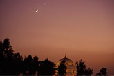 night stock photography | Pakistan, Multan, Moon over Mausoleum of Shah Rukn-e-Alam at dusk, image id 4-484-18