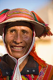 front view stock photography | Peru, Ollantaytambo, Quechua man in traditional clothing and hat, front view, image id 8-760-1193