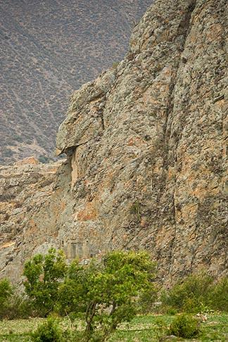 image 8-760-1295 Peru, Ollantaytambo, Ollantaytambo Inca site, carved outline of condor on rock ridge