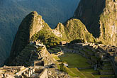 plaza stock photography | Peru, Machu Picchu, Huayna Picchu peak and Machu Picchu Sacred Plaza, image id 8-760-1442