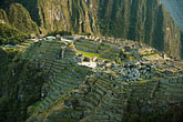 plaza stock photography | Peru, Machu Picchu, Sacred Plaza and agricultural terraces, image id 8-760-1469