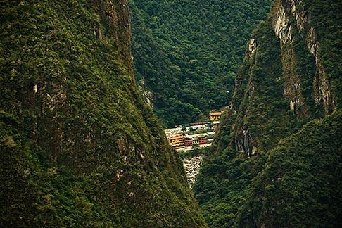 image 8-760-1519 Peru, Machu Picchu, Town of Aguas Calientes and Rio Urubamba, from Machu Picchu Peak, high angle view