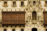 latin america stock photography | Peru, Lima, Decorated carved wooden balcony on Archbishop