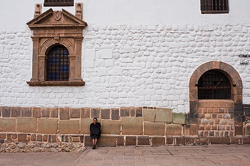 image 8-760-597 Peru, Cuzco, Santo Domingo Convent, woman seated outside