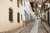 latin america stock photography | Peru, Cuzco, Steep cobbled street, San Blas Historic district, image id 8-760-715