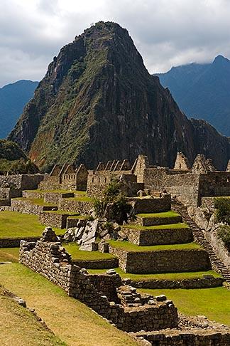 image 8-761-1719 Peru, Machu Picchu, Sacred Plaza, terraces and Huayna Picchu peak