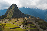 south america stock photography | Peru, Machu Picchu, Sacred Plaza, terraces and Huayna Picchu peak , image id 8-761-1739