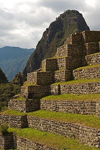 image 8-761-1752 Peru, Machu Picchu, Agricultural terraces and Huayna Picchu peak