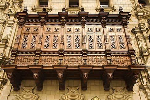 image 8-761-549 Peru, Lima, Decorated carved wooden balcony on Archbishops Palace, Palacio Episcopal