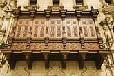 peruvian stock photography | Peru, Lima, Decorated carved wooden balcony on Archbishop
