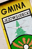 signage stock photography | Poland, Jelenia Gora, Jezow Sudecki crest and seal, image id 4-960-1232