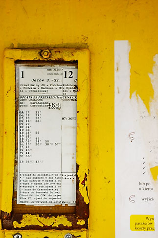 image 4-960-1267 Poland, Jelenia Gora, Bus stop schedule