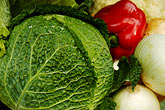 nourishment stock photography | Vegetables, Cabbages in market, image id 4-960-1341