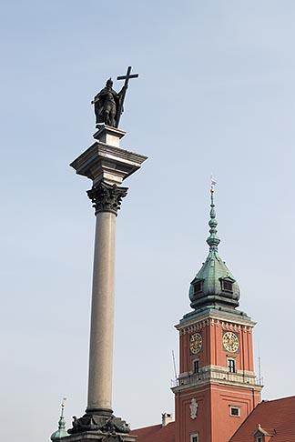 image 7-700-123 Poland, Warsaw, Zygmunt Column and Royal Castle, Zamek Krolewski, Old Town, Stare Miasto