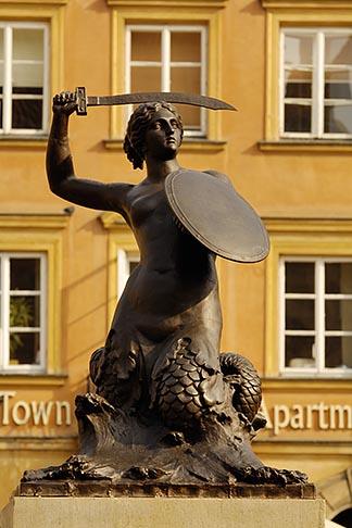 image 7-700-7565 Poland, Warsaw, Statue of Warsaw Mermaid, Warszawska Syrenka, Rynek Starego Miasta, Old Town Square