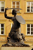 mermaid stock photography | Poland, Warsaw, Statue of Warsaw Mermaid, Warszawska Syrenka, Rynek Starego Miasta, Old Town Square, image id 7-700-7565