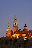 castle stock photography | Poland, Krakow, Wawel, Cathedral and Royal Castle, at night, image id 7-730-8331