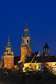 travel stock photography | Poland, Krakow, Wawel, Cathedral and Royal Castle, at night, image id 7-730-8345
