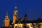 cathedral and royal castle stock photography | Poland, Krakow, Wawel, Cathedral and Royal Castle, at night, image id 7-730-8346