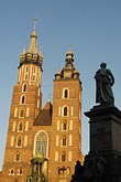 image 7-730-8614 Poland, Krakow, St Marys Church, and Statue of Adam Mickiewicz, Rynek Glowny, Grand Square