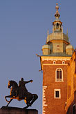 wawel stock photography | Poland, Krakow, Wawel, Tadeusz Kosciuszko Monument  and Cathedral tower, image id 7-730-8858