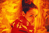one woman only stock photography | New Mexico, Santa Fe, Model in red, image id S4-200-2