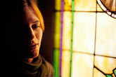 contemplation stock photography | New Mexico, Santa Fe, Portrait with stained glass window, image id S4-200-7