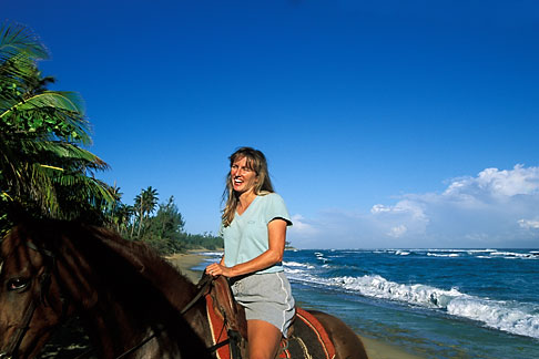image 1-354-2 Puerto Rico, Isabela, Horseback riding on beach