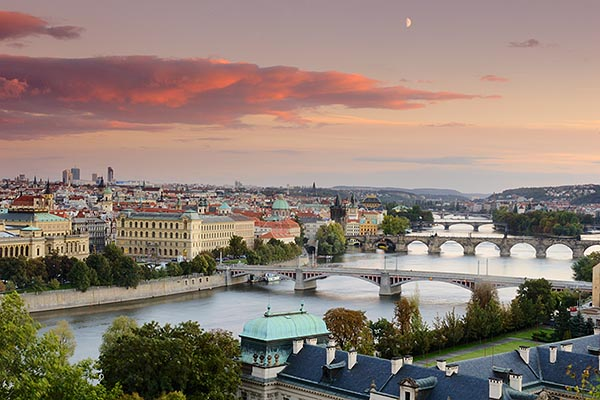 4-960-7449 stock photo of Czech Republic, Prague, Bridges on the River Vlatava