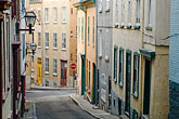 old shops stock photography | Canada, Quebec City, SIde street in Old Quarter, image id 5-750-385