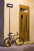 door stock photography | Canada, Quebec City, Bicycle outside house, Old Quarter, image id 5-750-466