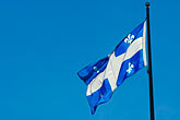 clear sky stock photography | Canada, Quebec City, Flag of Province of Quebec, image id 5-750-8246