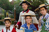 four girls stock photography | Canada, Quebec City, F�tes de la Nouvelle France, Family in costume, image id 5-750-8259