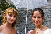 brunette stock photography | Canada, Quebec City, F�tes de la Nouvelle France, Two young women, image id 5-750-8505