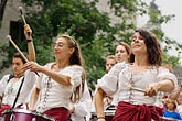 woman stock photography | Canada, Quebec City, F�tes de la Nouvelle France, Drummers, image id 5-750-8564