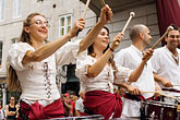 horizontal stock photography | Canada, Quebec City, F�tes de la Nouvelle France, Drummers in parade, image id 5-750-8569