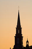 height stock photography | Canada, Quebec City, Levis, Church steeple at sunrise, image id 5-750-9895