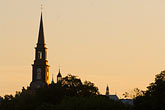 illuminated stock photography | Canada, Quebec City, Church steeple at dawn, Levis, image id 5-750-9928