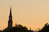 illuminated stock photography | Canada, Quebec City, Levis, Church steeple at sunrise, image id 5-750-9930