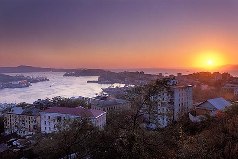 image 2-750-58 Russia, Vladivostok, Sunset over Golden Horn Bay Bukhta Zolotoy Rog