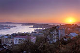 over stock photography | Russia, Vladivostok, Sunset over Golden Horn Bay (Bukhta Zolotoy Rog), image id 2-750-58