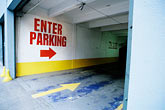 road sign stock photography | California, San Francisco, Parking Garage entrance, image id S5-162-3
