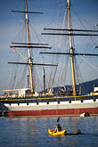 three masted stock photography | California, San Francisco, San Francisco Maritime National Historical Park, clipper ship Balclutha, image id 3-1012-79